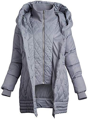 Jessica Simpson Women's Outerwear - Lightweight Hooded Puffer Jacket with Knit Collar Bib, Size Medium, Ice Grey