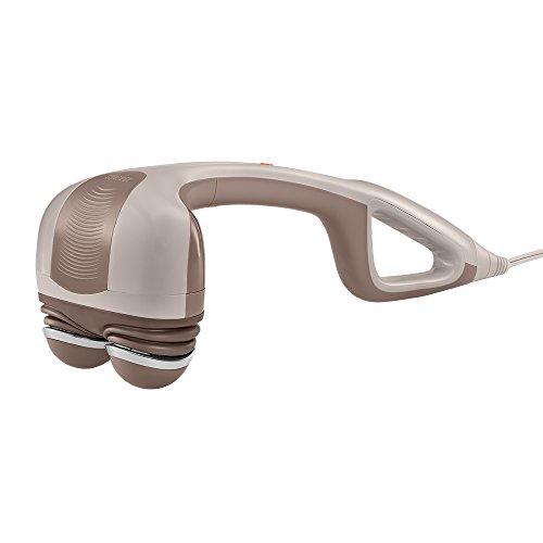 Masajeador de acción de percusión HoMedics con calor, intensidad ajustable, cabezas giratorias dobles, 2 juegos de nodos intercambiables, amasado muscular climatizado para espalda, hombros, pies, piernas y cuello