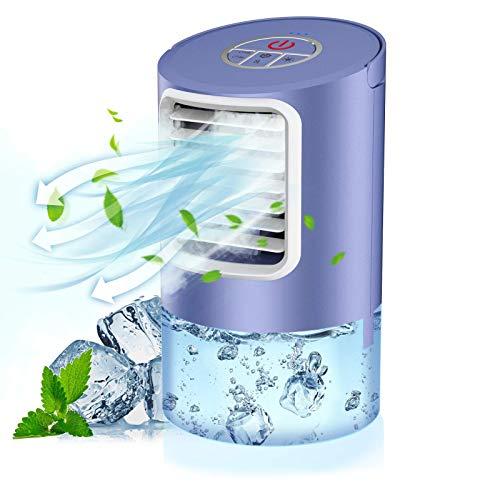 QUARED Condizionatore portatile mini air cooler per climatizzazione con 2 timer, 3 velocit del vento, 7 colori diversi, viola