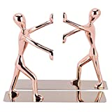 Bookend, 1 Pair Heavy Duty Stainless Steel Man bookends Rose Gold Nonskid Bookends Bookend Organizer for Books, DVDs, Magazines