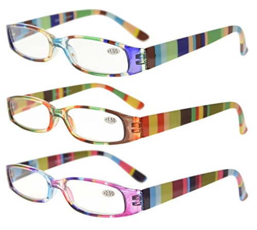 Eyekepper 4 Pairs Reading Glasses for Women Reading Striped Pattern Stylish Reading Eyeglasses