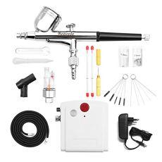 Bonvvie Mini aerógrafo Kit Profesional Aerógrafo Compresor de Aire de Doble Acción y Kit de Limpieza para Pintar Patrones, Dibujar Uñas de Belleza y Manualidades