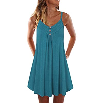 ❤️ 【SOFT MATERIAL】 95% Rayon+5% Spandex, this womens casual dress features lightweight and comfortable to wear knee length. ❤️ 【DESIGN FEATURES】 Style with casual, sleeveless, round neck dress, loose, tank dress, high waist ,plain pleated, knee lengt...