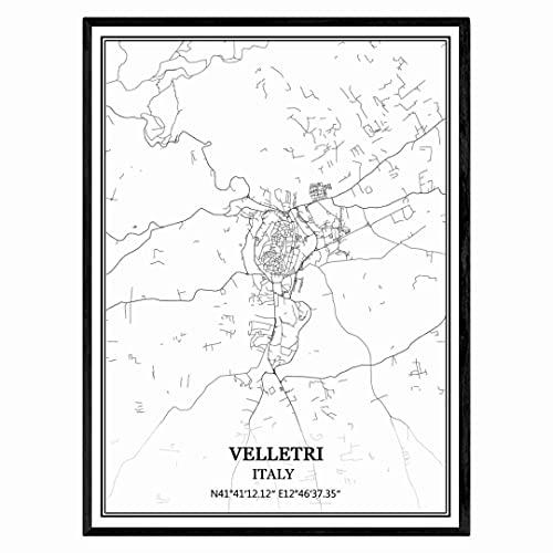 Velletri Italia Mappa Wall Art Canvas Print Poster Artwork Unframed Modern Black and White Map Souvenir Gift Home Decor
