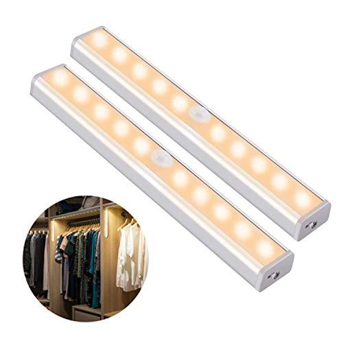 OUSFOT Luci Armadio Guardaroba con Sensore di Movimento, Luce per Armadio con Sensore USB Ricaricabile 10 LED Striscia Magnetica Adesiva,per Armadio/Camera da letto (Bianca Calda)