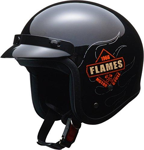 リード工業(LEAD) バイク用ジェットヘルメット FLAMES (フレームス) ブラック フリー (57-60cm未満) -