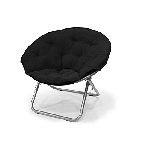 Urban Shop Microsuede Saucer Chair, Black