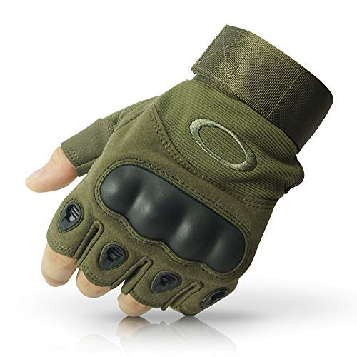 LALA LIFE Nylon Half Finger Hard Knuckle Motorcycle Arm Shooting Gym Gloves (Blue, XL)