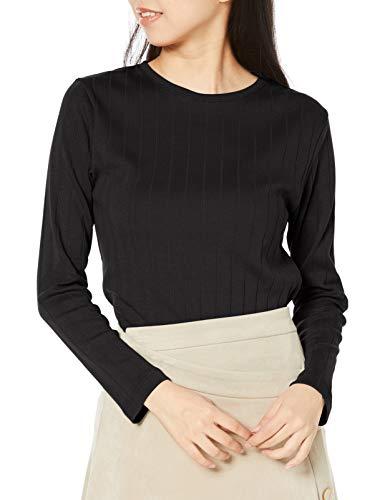 [ベルメゾン] Tシャツ 長袖 綿100% クルーネック リブ ホットコット レディース ブラック LL
