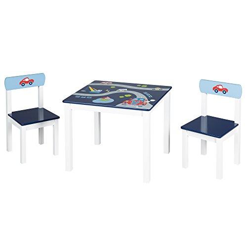 roba Kinder Sitzgruppe \'Rennfahrer\', Kindermöbel Set aus 2 Kinderstühlen & 1 Tisch, Sitzgarnitur mit Fahrzeug-Motiven in blau