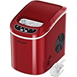 COSTWAY Ice Maker for Countertop, 26LBS/24H Portable and Compact Ice Maker Machine, Ice Cubes Ready in 6 Mins, Electric High Efficiency Express Clear Operation Control Panel with Ice Scoop (Red)