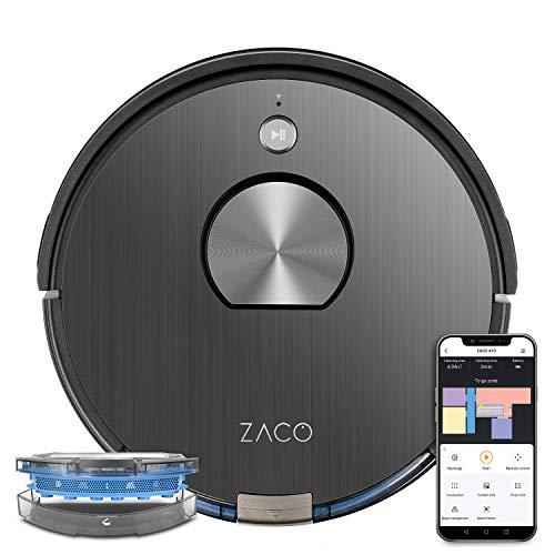 ZACO A10 Saugroboter mit Wischfunktion, 360° Lasernavigation, App, Alexa & Google Home Steuerung, Mapping, No-Go-Zonen, Timer, für Hartböden & Teppich, bis zu 2 Std saugen oder wischen, grau
