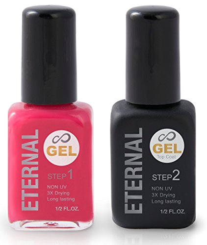Eternal Gel Nail Polish Kit - Color and Clear Top Coat Gel, No UV Lamp Required (Kiss Me)