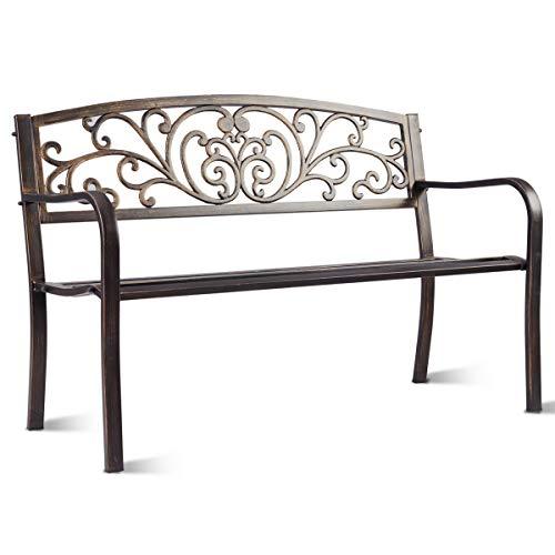 COSTWAY Gartenbank Parkbank Eisenbank Gartenmöbel Stahlrahmen, Ruhebank mit Rückenlehnen, Sitzbank aus Gusseisen, Metallbank 127x 60 x 85 cm
