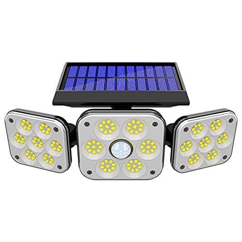 Solar Lights Outdoor, 138 LED Wireless Led Solar Motion Sensor Lights, 3 Adjustable Heads, 270° Wide Angle with 3 Lighting Modes, IP65 Waterproof Security LED Flood Light for Front Door Yard Garage