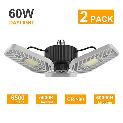 LZHOME 2-PACK LED Garage Lights, 6500Lumens Adjustable Trilights Garage Ceiling Light ,60W LED Garage Light, CRI 80, 5000k Nature light, Garage Lights with Adjustable Panels