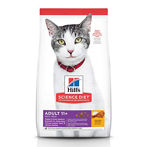 Hill's Science Diet Dry Cat Food, Adult 11+ for Senior Cats, Chicken Recipe, 15.5 lb Bag