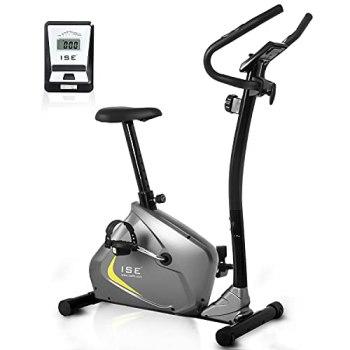 ISE Vélo d'Appartement Magnétique Fitness Bike, Vélo d'intérieur Ergonomique avec Console, Roulant d'Inertie Bidirectionnel, Résistance Réglable Capteur d'Impulsion, SY-8802