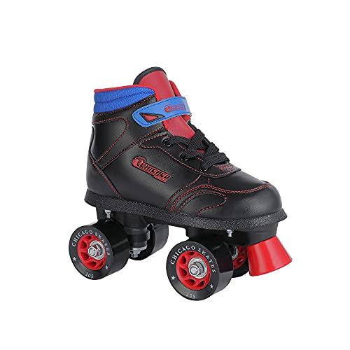 Chicago Skates Boys Sidewalk Roller Skate - Black Youth Quad Skates - Size 1