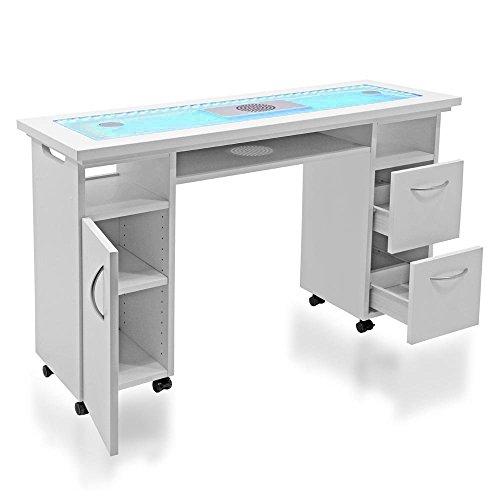 Tavolo professionale per ricostruzione unghie Design DR07 con pianale in vetro, led colorati...