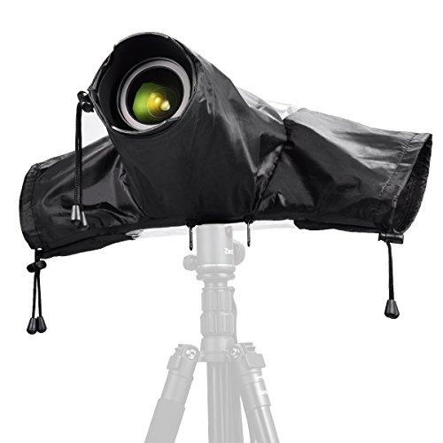 Zecti Protezione Antipioggia Custodia per Fotocamera Impermeabile per Fotocamera Canon e Nikon Fotocamere Reflex, ColoreNero