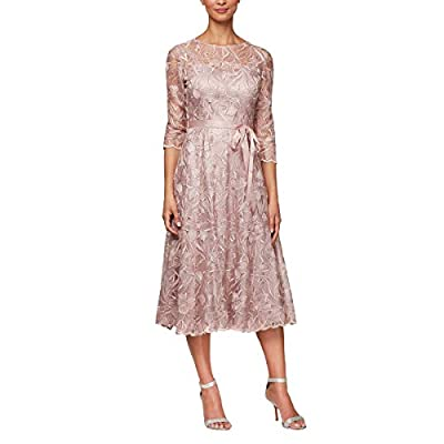 "Midi Length Embroidered A-Line Dress Illusion Neckline and 3/4 Sleeves Tie Belt Center back length: 41. 75"" Style #8217835"