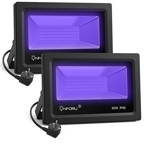 Onforu 60W Faretto UV LED, Faro UV LED con spina, Fari UV LED IP66 Impermeabile, Faretto Luce Nera,...