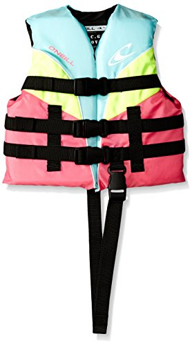 O'Neill Child Superlite USCG Life Vest,Turquoise/Berry/Lime/White,30-50 lbs