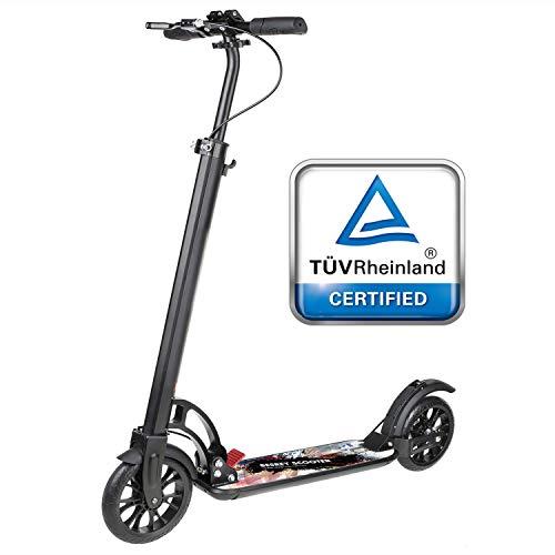 besrey Big Wheel Scooter Tret-Roller City-Scooter 230mm ab 8 Jahre mit XXL Trittbrett und Fußbremse, Vollfederung für Kinder und Erwachsene schwarz