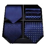 HISDERN Lot 3 PCS Cravate Homme Polka Dot Check Stripe Solide Couleur Mouchoir de mariage Cravate et Pocket Square -Plusieurs ensembles