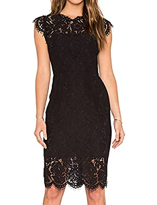 Size:S(US 2-4) / M(US 6-8) / L(US 10-12) / XL(US 14-16) If you are in between size,please size up. Design: Eyelashes lace,Slimming Sheath Style, Full Lace Short Midi Dress, Full Zip Back Suit for Night date,Cocktail Party, Prom, Wedding, Formal Occas...