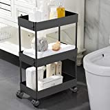 AOJIA Slim Storage Cart, 3 Tier Bathroom Cart Organizer Slide Out Storage Cart Bathroom Storage Cart Mobile Shelving Unit Organizer with Casters Wheels for Bathroom Kitchen Laundry Narrow Places