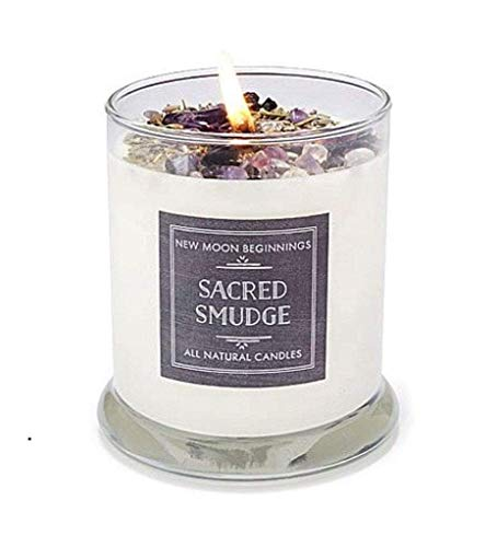 Sacred Smudge Candle by New Moon Beginnings - Crystal & Herb...