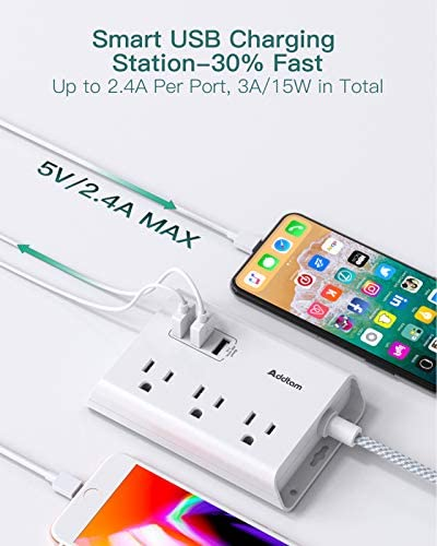 Power Strip with USB, Addtam ETL Certificate Flat Plug Extension Cord with 3 USB Ports, 3 Widely Spaced Outlets, 5 Feet Braided Cord, Desktop Small Travel Power Strip for Cruise Ship, Home, Office 14