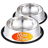 INONE Stainless Steel Dog Bowl with Rubber Base for Food and Water, Pet Food Container, Perfect Choice for Small/Medium Dogs or Cats (2 Pack)