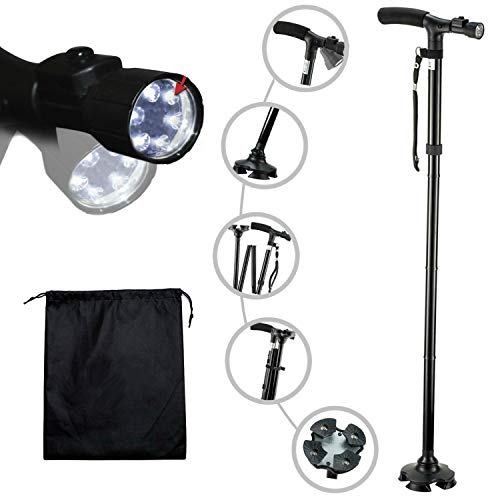 Travel Adjustable Folding Canes and Walking Sticks for Men and Women with Led Light and Cushion Handle for Arthritis Seniors Disabled and Elderly Best Mobility Aids Cane. Adjusts from 34' to 39'
