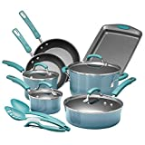Rachael Ray 18945 Classic Nonstick Cookware Pots and Pans Set, 14 Piece, Blue Agave Gradient