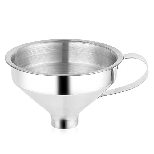 Aozita 18/8 Stainless Steel Spice Funnel with Handle for Spice Jars - Professional Grade Kitchen Tools