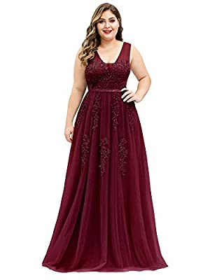 Fully lined, no built-in bras, low stretch Features: A-Line, V-Neck, sleeveless, lace appliques, stretch elastic band, tulle maxi dress, fit & flared dress, plus size dresses Unique lace appliques design with stretch elastic band make this evening dr...