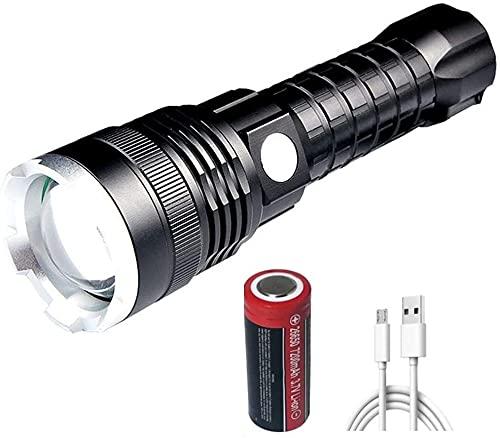 XLENTGEN Torcia LED USB Ricaricabile XHP70 Super Luminosa 12000 Lumen Potente Professionale Torcia Tattica Portaibile Zoomabile Militare Impermeabile 5 Modalit per Campeggio Esterno Pesca Emergenza