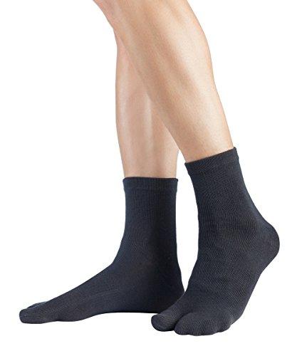 Knitido Traditionals Tabi Ankle | Calzini giapponesi corti e colorati con alluce separato, Misura:43-46, Colori:Carbone (816)