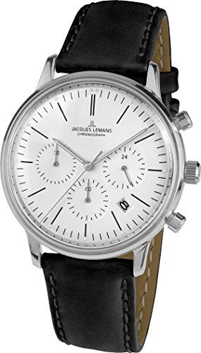 Jacques Lemans Unisex Analog Quarz Uhr mit Leder Armband N-209ZB