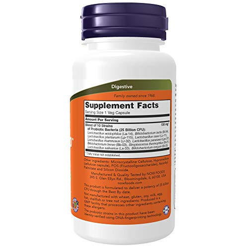 NOW Supplements, Probiotic-10, 25 Billion, with 10 Probiotic Strains, Dairy, Soy and Gluten Free, Strain Verified, 100 Veg Capsules 2