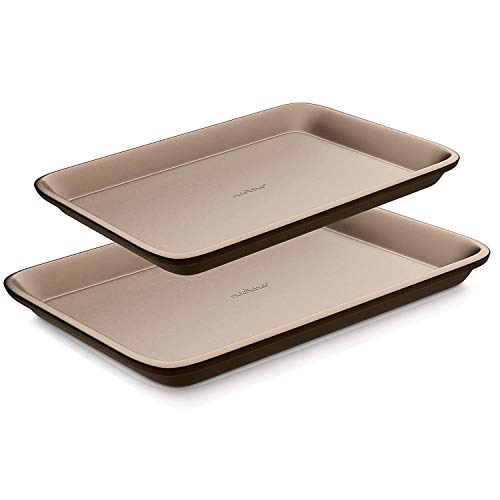 Nutrichef Nonstick Cookie Sheet Pan | 2pc Large and Med Metal Baking Tray Professional Quality Kitchen |, Non-Stick w/Rimmed Borders, Guaranteed NOT to Wrap-FDA approved, Gold