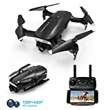 Foldable Drone with 720P HD Camera for Adults, FPV WiFi RC Quadcopter, 120° Wide-Angle Live Video Camera, Altitude Hold, APP Control, One Key Return, Easy to Fly for Beginners, 2 Batteries