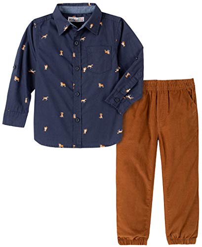 Kids Headquarters Baby Boys' 2 Pieces Shirt Pants Set, Navy,...