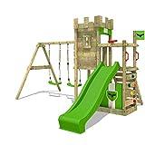 FATMOOSE Aire de jeux BoldBaron Boost XXL Tour de jeux pour enfants avec balançoire et toboggan, bac à sable et plateforme extra large