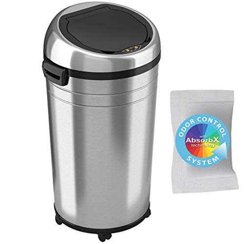 iTouchless 23 Gallon Commercial Size Touchless Sensor Trash Can with Odor Control System, Stainless Steel, 87 Liter Round Automatic Garbage Bin