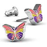 Hand Painted Butterfly Earrings   Hypoallergenic Earrings Studs for Women and Teens in Pink or Blue Butterflies