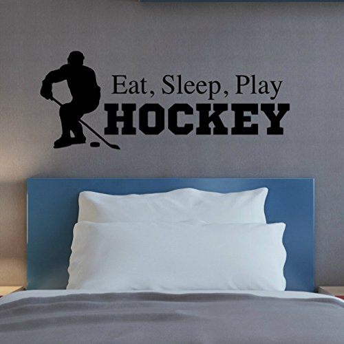 Eat Sleep Play Hockey Wall Decal, Hockey Quotes Wall Decor, Hockey Wall Sticker, 36
